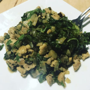 Organic chicken and kale curry salad